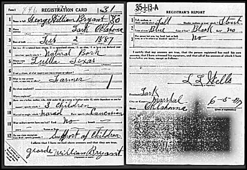WWII Registration for G W Bryant