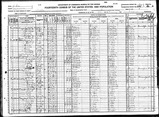 Johnathan A. Bryant in 1920 census