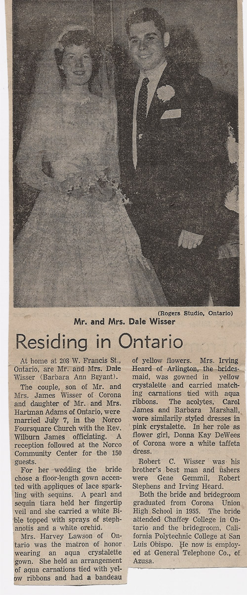Dale and Barbara Wedding in Newspaper